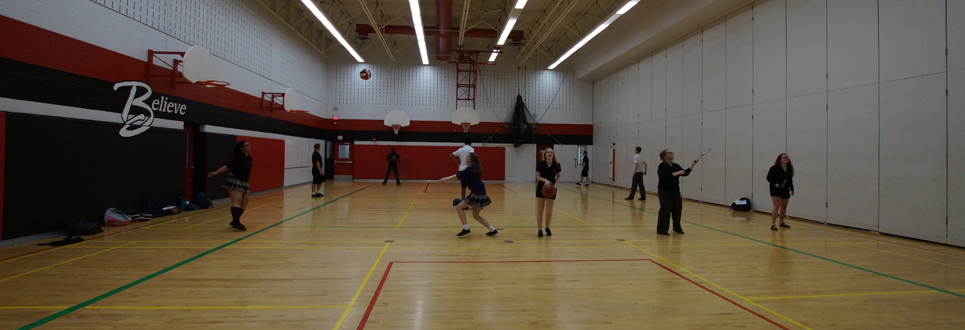 Students playing sports in a gym